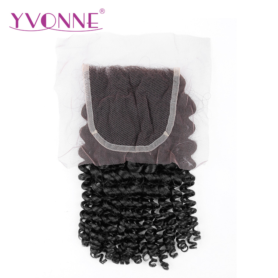 YVONNE Brazilian Virgin font b Hair b font Kinky Curly Closure 4x4 Free Part font b