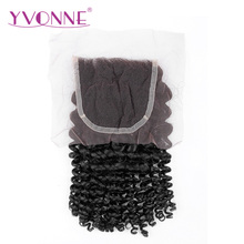 YVONNE Brazilian Virgin Hair Kinky Curly Closure 4×4 Free Part Human Hair Closure Natural Color Free Shipping