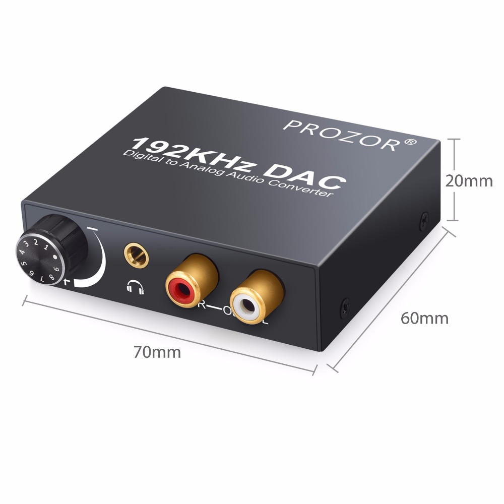 192kHz DAC Converter Digital Optical Coaxial Toslink to Analog L/R RCA 3.5mm Jack Audio Converter Adapter With Volume Control
