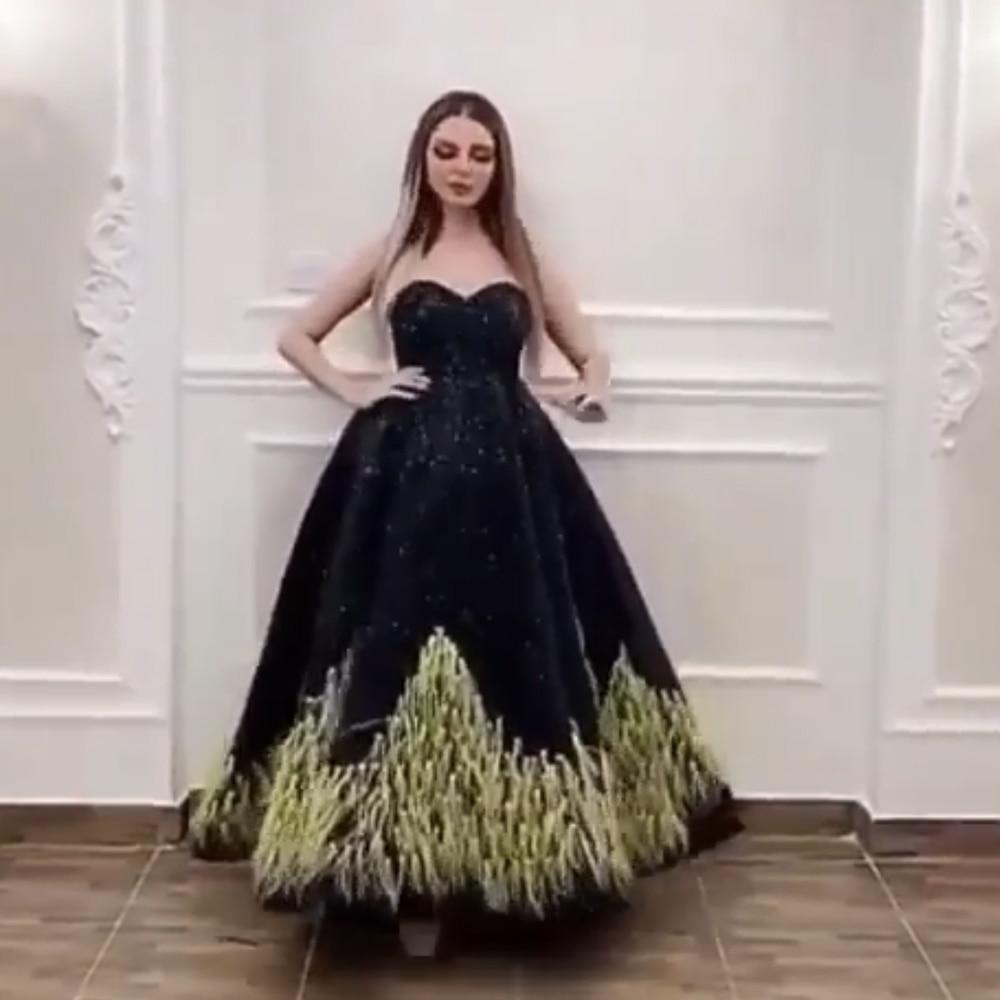 Robes de soirée noires robe de soirée 2019 chérie paillettes scintillantes plume dos nu robes de soirée robes de bal
