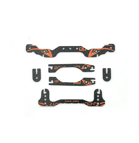 1 Set Carbon Fiber Mass Damper Hanger Frame 2017 J-CUP Version Reinforcing Plate Set for 1/32 Tamiya Mini 4WD Racing Car Model