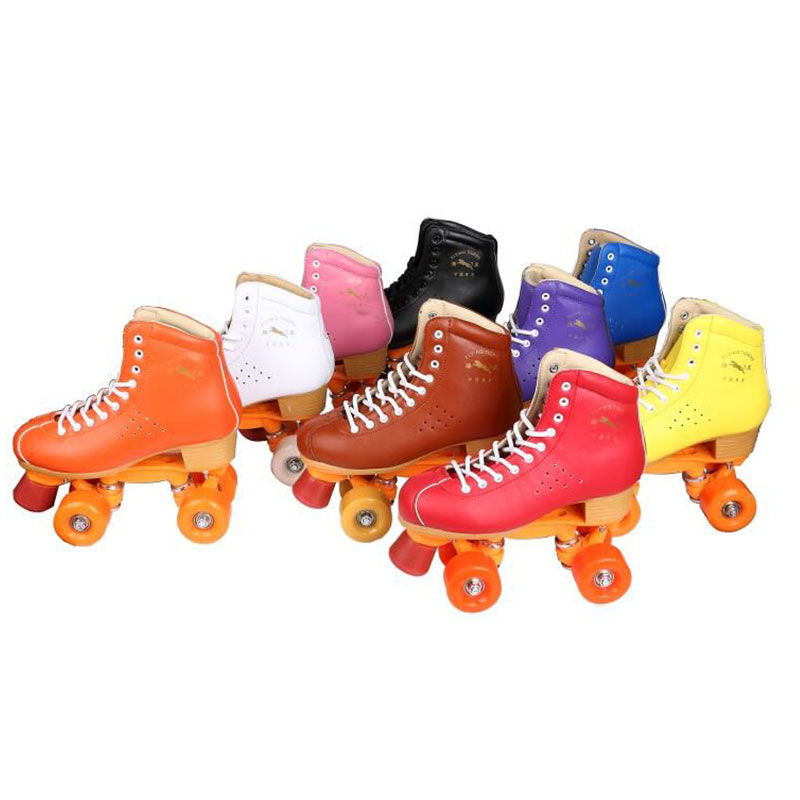 New Arrival Adults Professional Roller Skates Shoes High Quality Genuine Leather Double Lines Skating Boots Sneakers new adults quad roller skates boots cow leather lace up double line skating shoes 4 wheels roller shoes purple