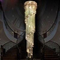 Современный прозрачный LED K9 Хрустальная люстра долго суспензия составные повернуть вилла Лестницы подвесной светильник Обеденная лампа
