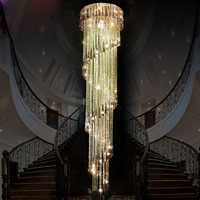 Modern Clear LED K9 Crystal Chandelier Long Suspension Compound Rotate Villa Stairs Hanging Lamp Dining Room Lamp Droplight
