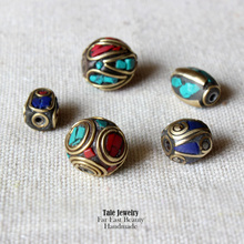 Wholesale Multi Size Tibetan Handmade Copper Inset Turquoise Coral Beads For Jewelry Making Vintage Loose Beads DIY Accessories
