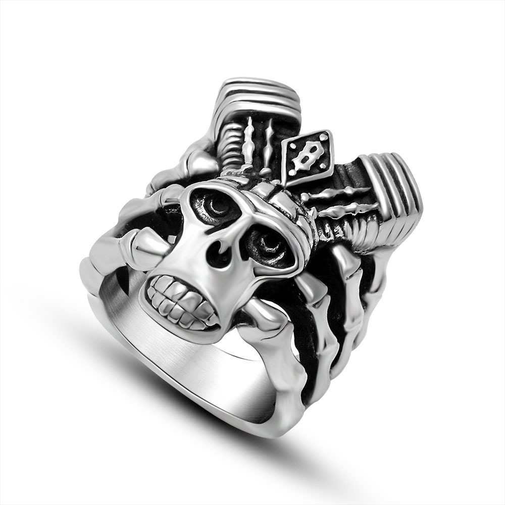 Men Fashion Jewelry Punk Style Magic Talon Stainless Steel Skull Ring Vintage Gothic Punk Ring Size 7-12 Wholesale