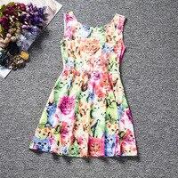 ノースリーブ女の子のドレス夏ブランド子供ドレスプリンセスコスチュームランファン猫犬プリント柄キッズドレス女の子服