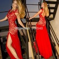 Sexy 2017 Mermaid Cap Mangas Ver Através Lace Vermelho Preto fenda Elegante vestido de Noite Longo Vestidos de Noite Vestido de Baile Vestidos de Baile vestido