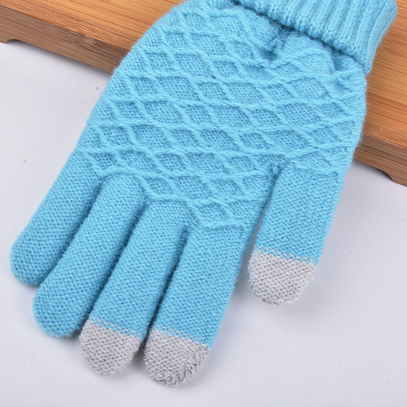 Fashion Winter Warm Vogue Solid Knitted Full Finger Gloves Mittens For Smart Phone Touches Screen GDD99