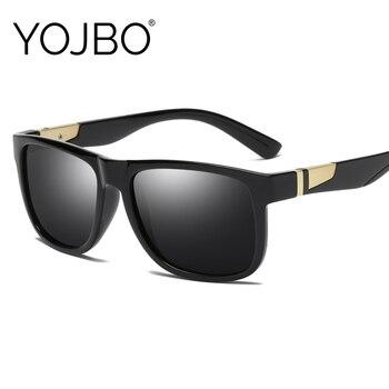 YOJBO Luxo Polarizada Óculos De Sol Dos Homens de Condução Espelho Óculos de Sol Óculos De Armação Preta Marca Designer Praça Vintage UV400 Oculos