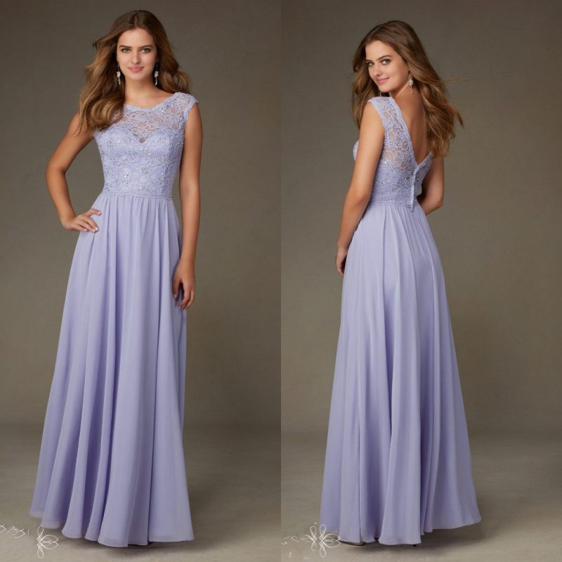 New Arrival Pleat A-Line Lace Long   Bridesmaid     Dresses   Sleeveless Chiffon   Dresses   Wedding   Bridesmaid   Customized