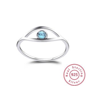 Image 1 - Blue Turquoise 925 Sterling Silver Rings For Women Engagement Ring Silver 925 Jewelry Opal Rings Luxury Gift to Friends