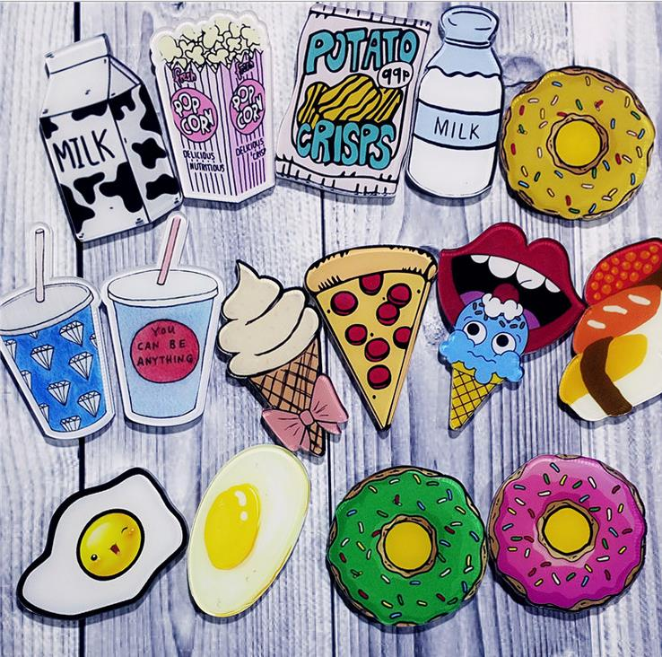 [4Y4A] 50pcs/Lot Acrylic Cartoon Brooch Cute Badges Pin Brooch Badges