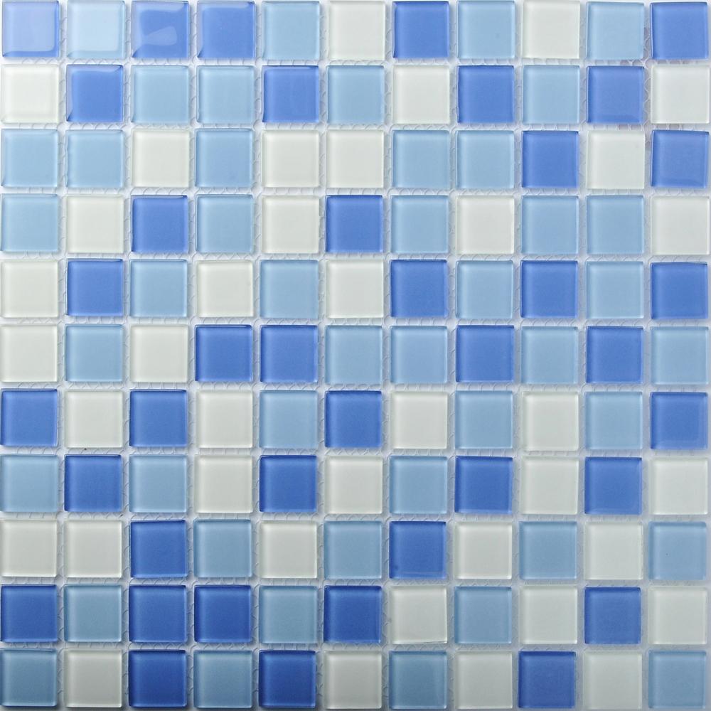 TST Crystal Glass Tiles Blue Glass Mosaic Tile Iridescent Sea Glass ...