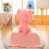 60 cm Lovely Plush Elephant Cushion + Blanket Cute Elephant Style Plush Toy Animal Toy Kids Plush Toys Christmas Gift
