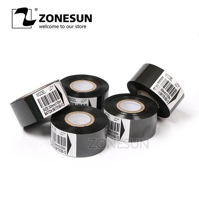 ZONESUN Thermal ribbon of ribbon printing machine, 30*100m, date printing ribbon for plastic and paper(5roll/lot)