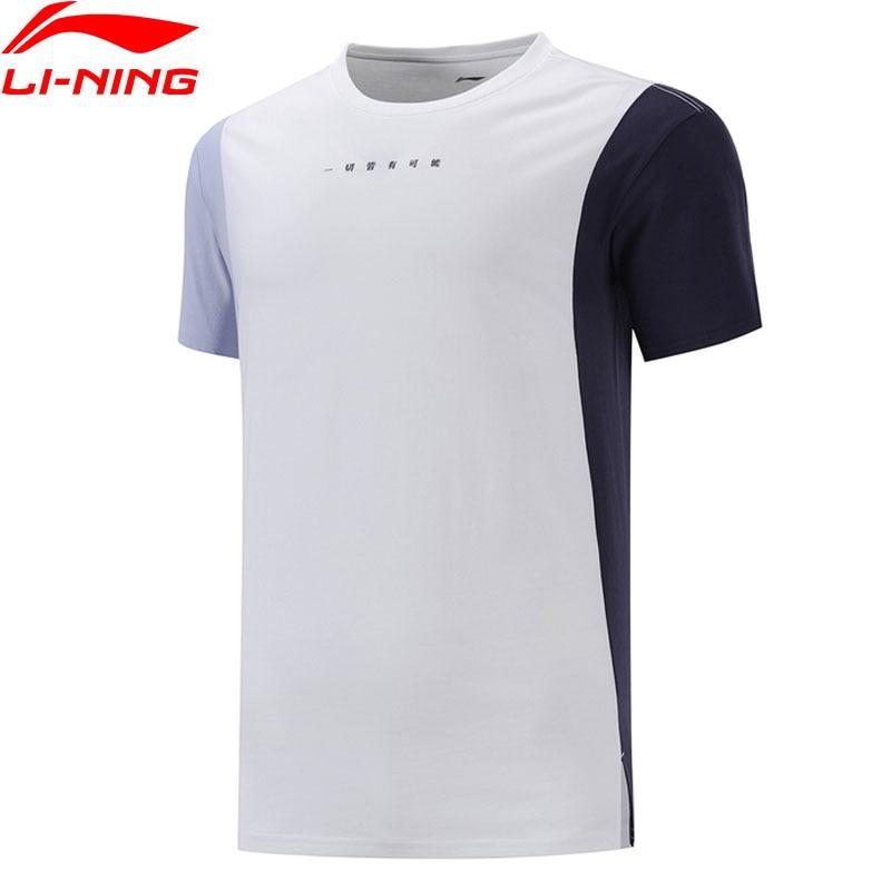 Li-Ning Men The Trend  Tee 100% Cotton Slogan Color-block T-shirts LiNing Li Ning Sports Regular Fit Tops AHSP167 MTS3097