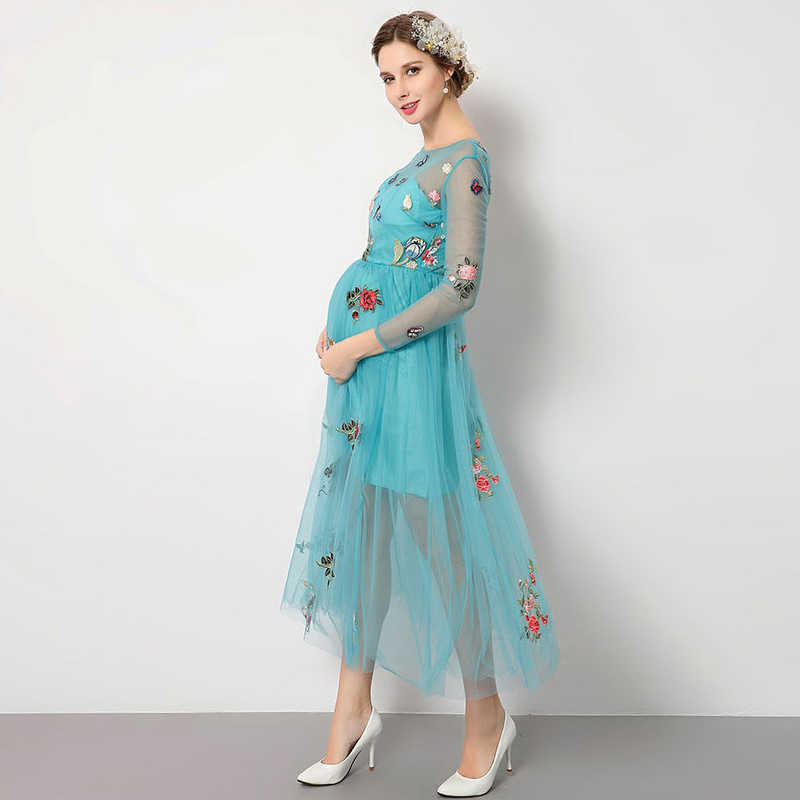 cb30fda945d Detail Feedback Questions about hamile giyim 2018 New lace long sleeve  turquoise embroidery Mid Calf nursing dress beautiful maternity clothes hot  on ...