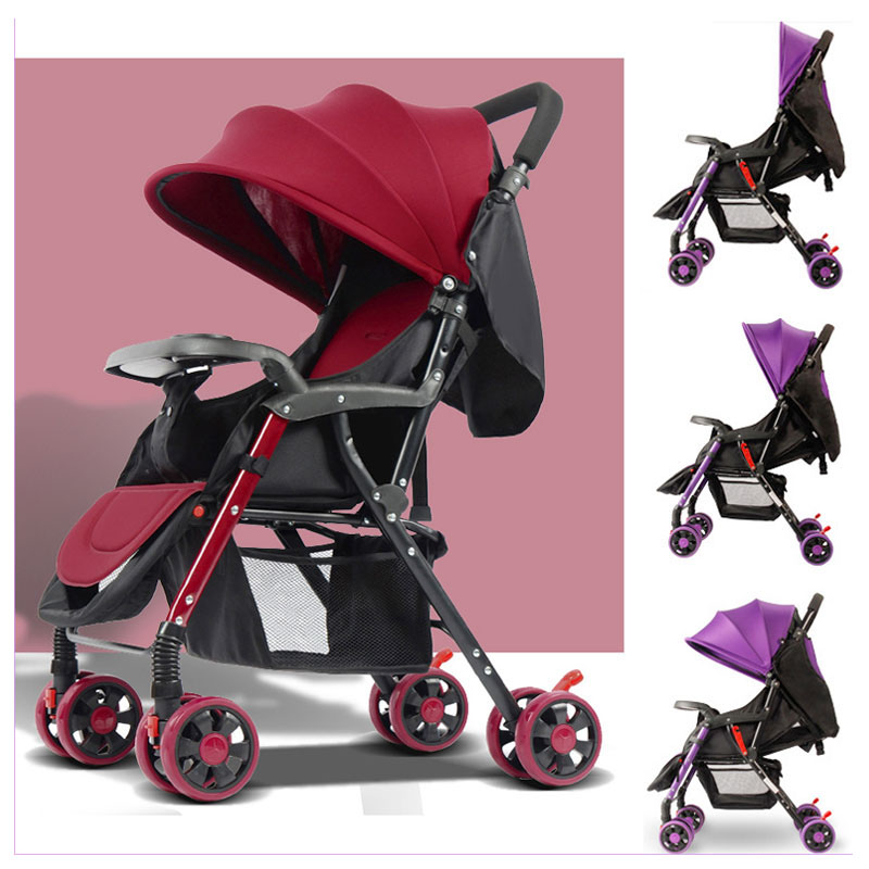 цена на Lightweight Baby Stroller 175 Degree Lying Baby Carriage Trolley with Dinner Plate Portable Baby Four Wheels Stroller Pushchair