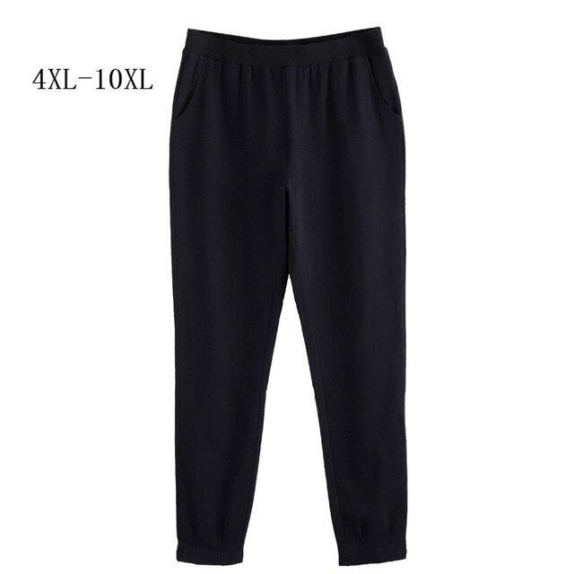 Для женщин брюки для девочек осень 2018 г. плюс размеры 10XL 8XL 6XL 4XL,Российские размеры 66, 62, 58, 54 среднего возраста женская одежда Высокая талия тонкий карандаш черны