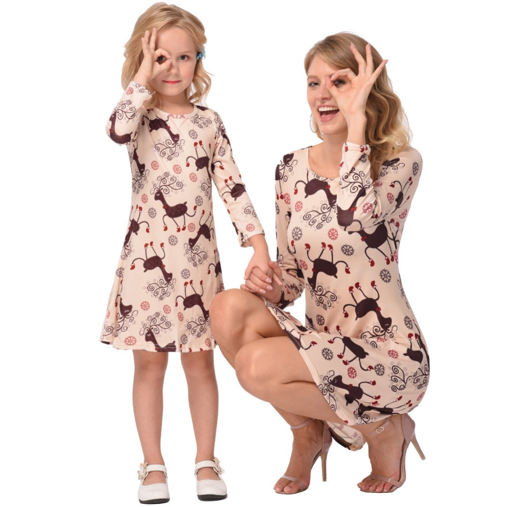 Christmas Family Matching Outfits Mother Daughter Dresses Matching Mother Daughter Clothes Elk Printed Dress Family look mother daughter matching swimsuits family look mom and daughter swimwear floral ruffle family matching bathing suits clothes