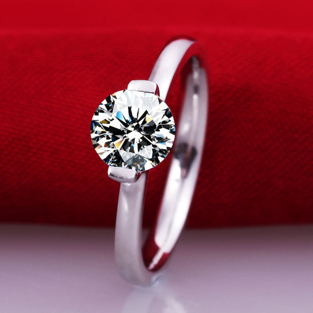 1 carat SONA synthetic ring 925 sterling silver clear full size ring big size finger ring US size from 4 to 10.5 (DFE)