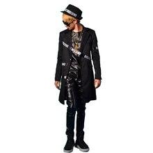 Мужской длинный повседневный костюм пиджак мужской сценический костюм Модный облегающий хип-хоп стиль Костюмы можно настроить размер