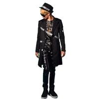 Мужской длинный повседневный костюм, пиджак, мужская сценическая одежда, модные облегающие костюмы в стиле хип-хоп, можно заказать размер