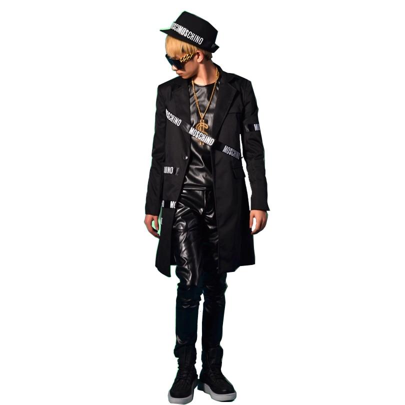 Homem longo terno casual blazer jaqueta masculino palco wear moda magro ajuste estilo hip hop trajes pode personalizar o tamanho