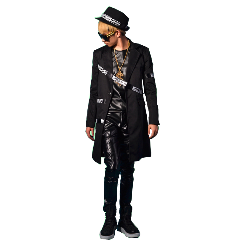 Men Long Casual Suit Blazer Jacket Male Stage Wear Fashion Slim Fit Hip Hop Style Costumes Can Customize Size