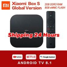 Глобальная оригинальная Xiaomi mi коробка S 4K HDR Android tv 8,1 mi Box 2G 8G wifi Google Cast Netflix телеприставка mi Box 4 медиаплеер