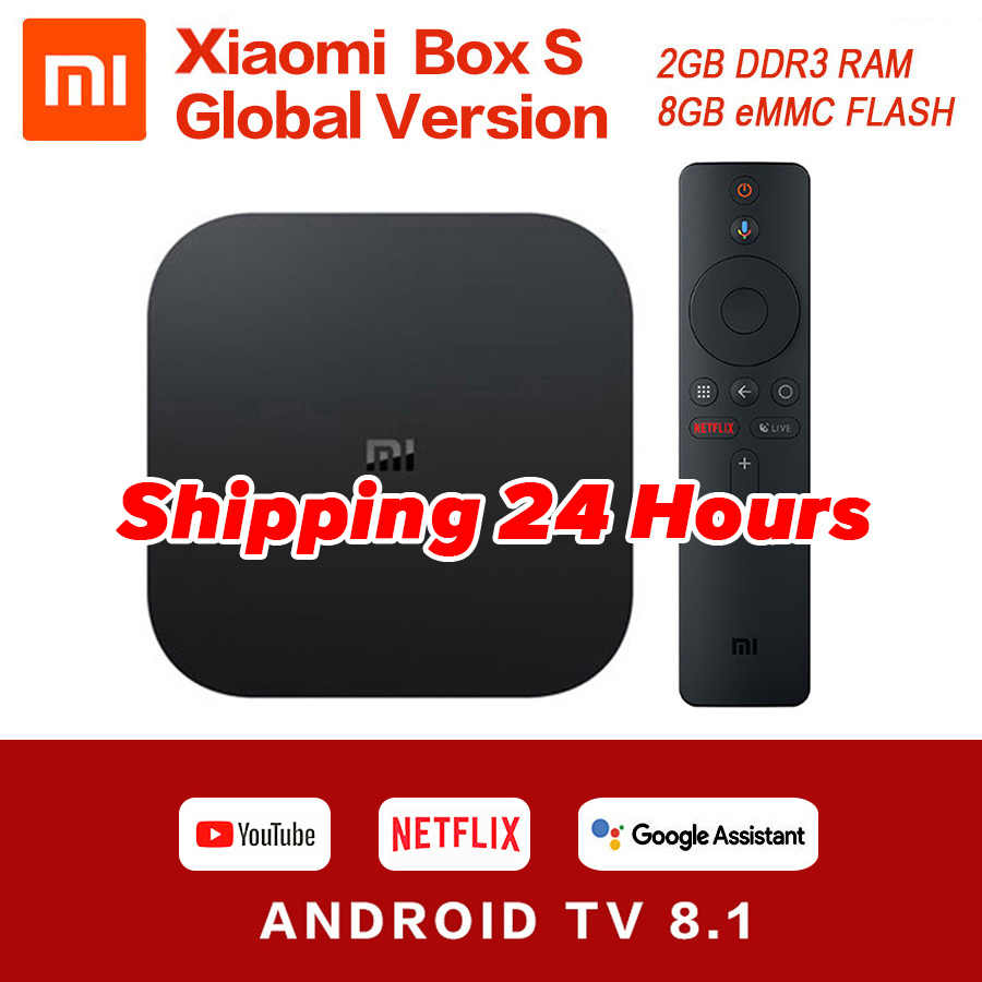 Global Original Xiaomi Mi caja de S 4K HDR Android TV 8,1 Mi cajas 2G 8G WIFI Google Cast Netflix Set Top Mi caja de 4 reproductor de medios