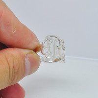 Wholesale Sterling Silver Monogram Ring Personalized Initial Cut Out 3 Letter Custom Name Jewelry Christmas Gift