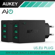 Aukey 5V6A Universal Travel USB Зарядное устройство ЕС США Plug Стены мобильный Телефон Смарт-Зарядное Устройство для iPhone Tablet Xiaomi Red HTC SONY