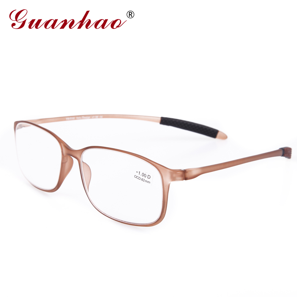 Guanhao TR90 Frame Resin Lens Clear Glasses Man Women Ultra-light Plastic Frame Slim Reading Glasses Foldable 1.0 1.5 2.0 2.5