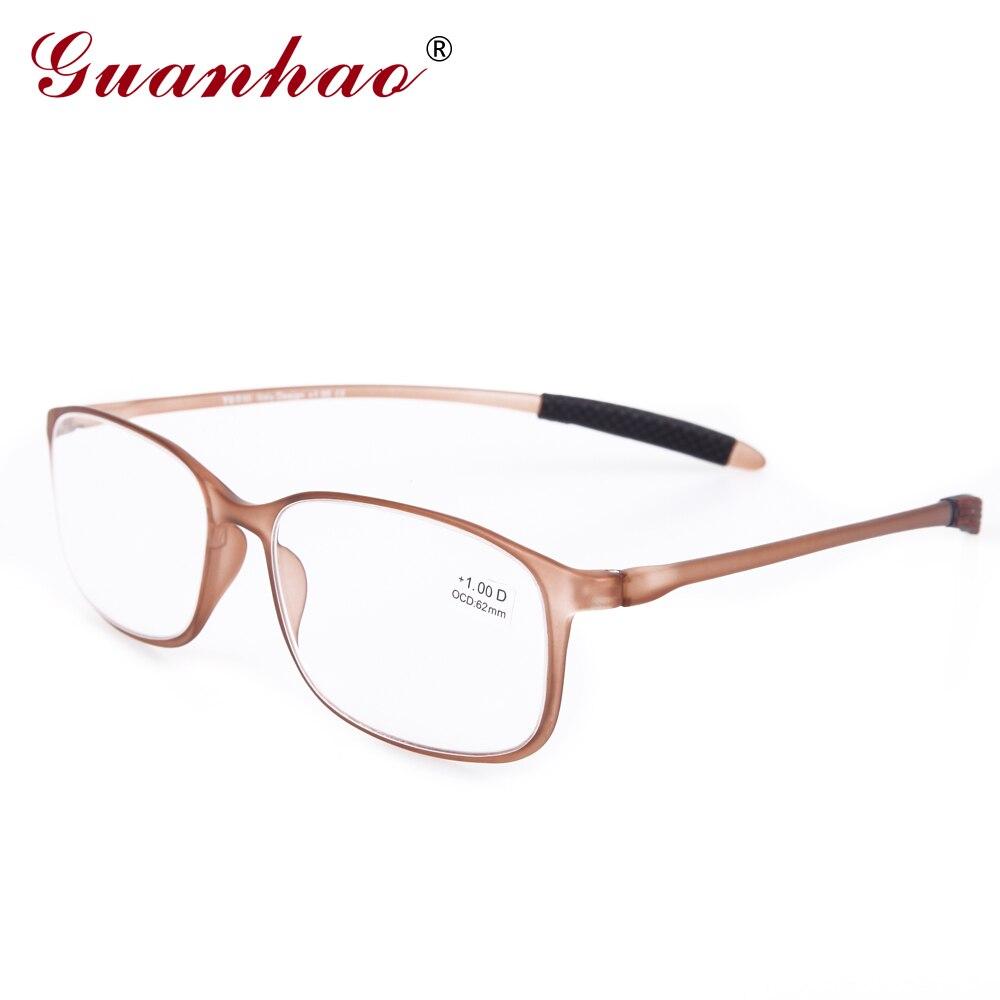 Guanhao tr90 moldura resina lente clara óculos homem mulher ultra-leve moldura de plástico fino óculos de leitura dobrável 1.0 1.5 2.0 2.5