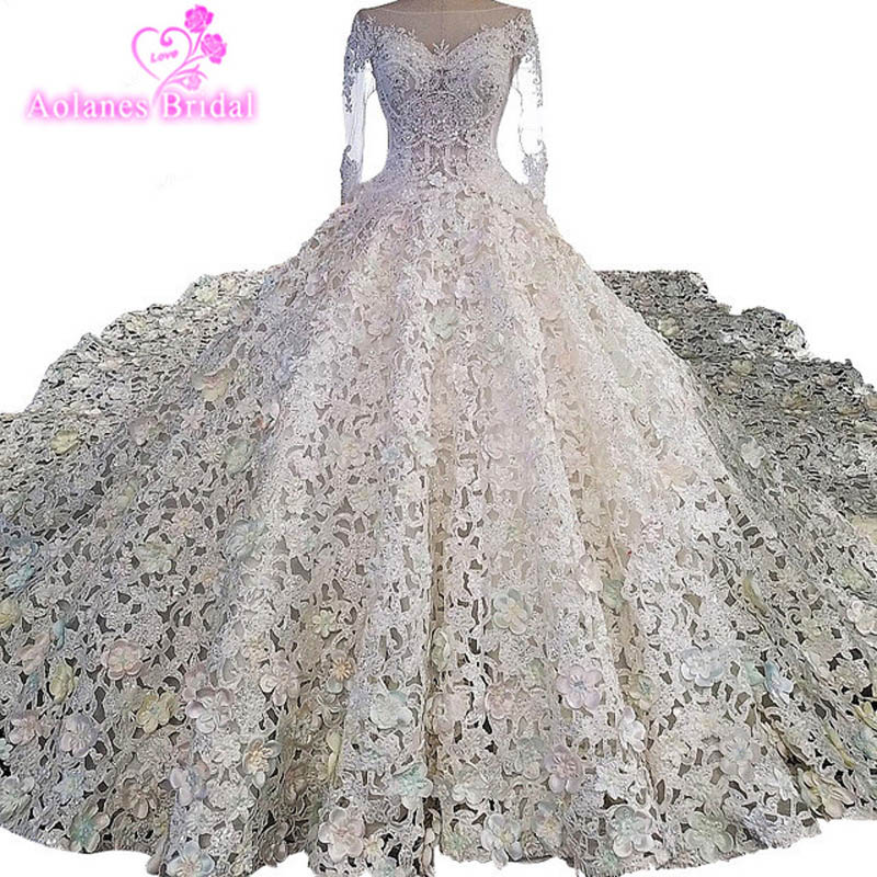 7a622127c Luxury Cathedral Train Crystal Wedding Dresses Princess Designer Wedding  Gowns Satin Full Embroidered Hollow Out Skirt