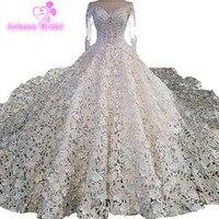 Роскошный собор Поезд Кристалл Свадебные платья принцессы дизайнерские свадебные платья атласная Полный вышитые выдалбливают юбка бально