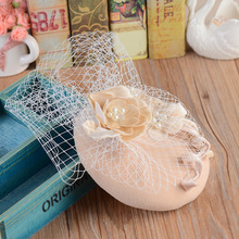 Vogue Bride Veil Fascinator Silk Party Hat Elegant Handmade Lace Flower Pearl Wedding Church Cocktail Women Headwear Hair Clips