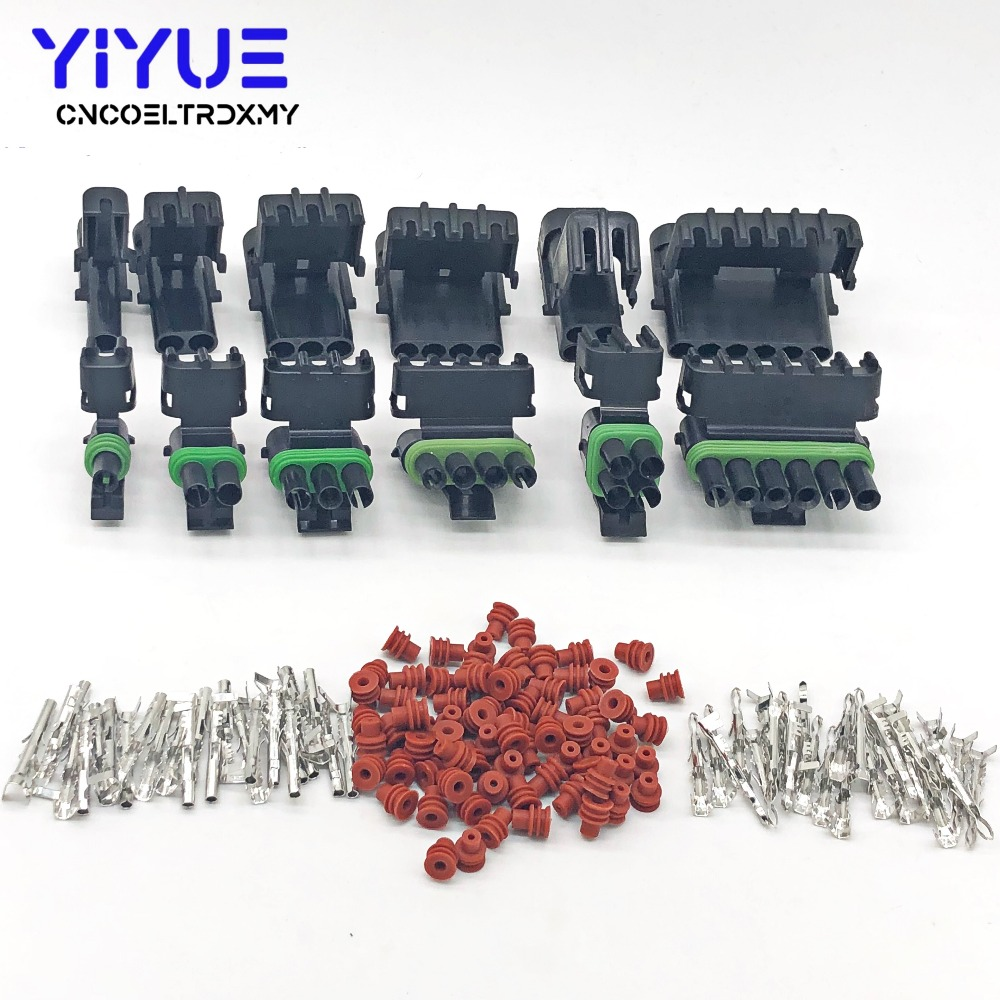 1 Set 1/2/3/4/6Pin Weather Pack Weatherpack Electrical Wire 2.5 Connector Plug Sealed Wiring Automobile Connectors Kit 18-14 GA