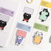 купить 4 pcs Wonderful friends sticky note set Cartoon cat bear memo pad stickers Book marker Stationery Office School supplies A6120 в интернет-магазине