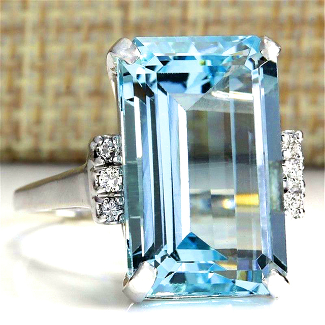 GR.NERH Brand Jewelry Hyperbole Big Blue-Square Crystal Silver Color Ring Jewelr