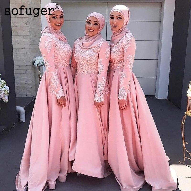 Pink Muslim Long Sleeve   Evening     Dresses   Lace Appliques Satin Vestidos De Fiesta De Noche Arabic Muslim Special Occasion Plus
