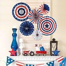 Dia da independência americana bandeiras de corda banner papel fã festa decoração 4 julho diy decoração parede deco colorido cartão