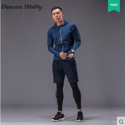 2017 sport clothes men sport suit running sets compression  fitness gym training sport suit 3 pcs Clothing Running Sets