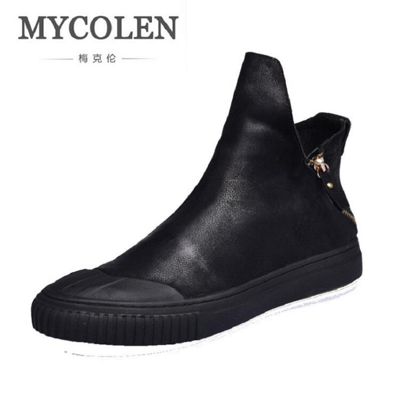 MYCOLEN Luxury Brand Genuine Leather Men Ankle Boots Man Leather High Top Shoes Outdoor Shoes Martin Boots Laarzen Dames tba genuine leather hiking shoes for women men lovers outdoor sport shoes man brand high top ankle boots women s men s sneakers