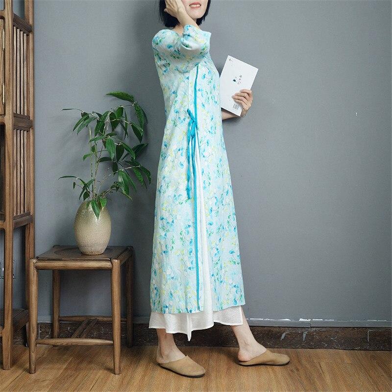 Mince D'été Robe Vintage O cou Trimestre Laçage Ramie 2019 Manches S876 Imprimer style Longue Scuwlinen Printemps white Trois Robes Light Chinois Blue IEDH29