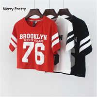 Merry Pretty New summer style Brooklyn 76 printed fashion Women T-shirt punk Crop top cotton T-shirt female dance t shirt tops