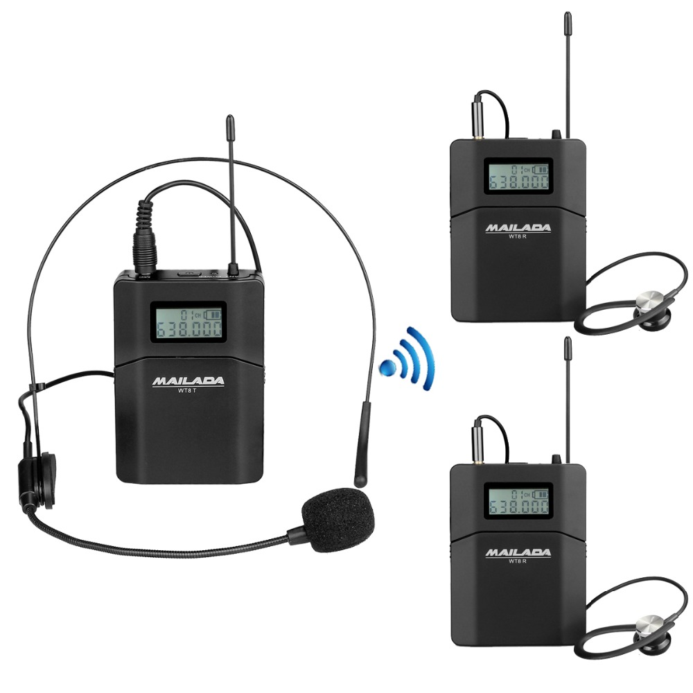 WT8 Tour Guide System 1 Transmitter+2 Receiver +Microphone Headset for Church Teaching Travel Simultaneous Interpretation F1435 недорго, оригинальная цена