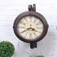 Do the Old Double Sided Wall Clock Quartz Watch Vintage Wrought Iron Wall Clock Large Clocks Saat Wanduhr Duvar Saatleri Reloj